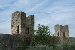 Ancient tower ruins and walls of Monteriggioni royalty free stock images