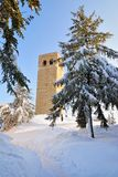 Ancient tower in the snowy field Royalty Free Stock Photos