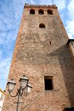 Ancient tower with streetlight in Monselice in the Veneto (Italy) Royalty Free Stock Photo