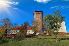 Ancient tower of Wawel Royal Castle in Krakow, Poland in the bright summer sun light stock photo