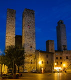 Ancient Towers in Night-San Gimignano, Italy Stock Image