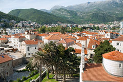 The ancient town of Budva, Montenegro. The medieval centre of the resort town of Budva, with white houses and red tile roofs, Montenegro Stock Images