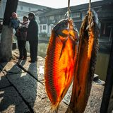 Residents in the south of the Yangtze River are preparing for the Spring Festival. The ancient town of an Chang is one of the four famous ancient towns in Stock Images