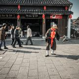 Residents in the south of the Yangtze River are preparing for the Spring Festival. The ancient town of an Chang is one of the four famous ancient towns in Stock Photo