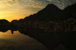Ancient town of Guizhou Zhenyuan. Sunset view Royalty Free Stock Images