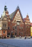 The ancient Town Hall on the Market square in Wroclaw, Poland Royalty Free Stock Photos