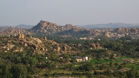 Ancient town Hampi and granite mountains Royalty Free Stock Photography
