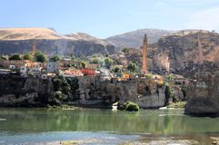 The ancient town of Hasankeyf in anatolia. Hasankeyf, an ancient town located on the cliffs at river tigris  in anatolia,eastern  turkey Stock Photography