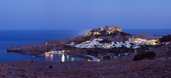 Ancient town Lindos. Panoramic view to ancient grecian town Lindos and acropolis about him. Greece. Rhodes island Stock Image