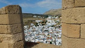 The ancient town of Lindos stock video footage