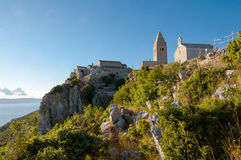 Ancient town of Lubenice and cliff in Cres Royalty Free Stock Photo