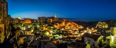 Ancient town of Matera at dusk, Basilicata, southern Italy Royalty Free Stock Photography