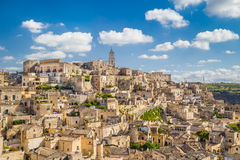 Ancient town of Matera (Sassi di Matera) at sunrise, Basilicata, Italy stock image