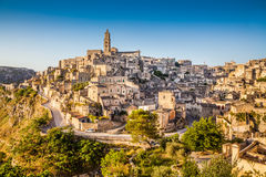 Ancient town of Matera at sunrise, Basilicata, Italy Stock Images