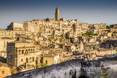 Ancient town of Matera at sunset, Basilicata, Italy Royalty Free Stock Images