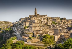 Ancient town of Matera at sunset, Basilicata, Italy Stock Image