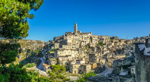 Ancient town of Matera at sunset, Basilicata, Italy Royalty Free Stock Photos