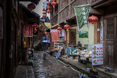 The ancient town in the rain Stock Images