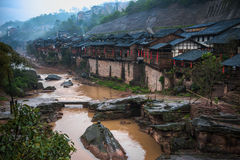 Ancient Town in the Rain. The Zhongshan Ancient Town is a historic town which is located in Jiangjin District of Chongqing, China stock images