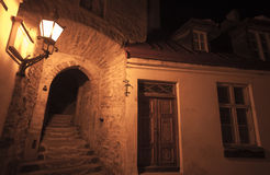 Ancient town street fragment at night Stock Photos