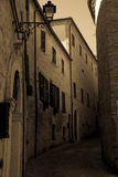 Ancient town street Mondavio Marche Italy. An old street in the ancient town of Mondavio in Italy Royalty Free Stock Photography