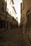 Ancient town street Mondavio Marche Italy. An old street in the ancient town of Mondavio in Italy Royalty Free Stock Photo