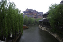 Ancient town of Taierzhuang. Taierzhuang ancient town in the rainy season Royalty Free Stock Photo