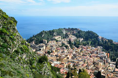 Ancient town Taormina on the Sicilian coast Royalty Free Stock Photography