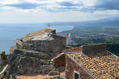 Ancient town Taormina on the Sicilian coast Stock Images