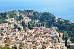 Ancient town Taormina on the Sicilian coast Royalty Free Stock Images