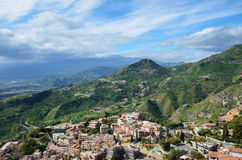 Ancient town Taormina on the Sicilian coast Stock Image