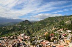 Ancient town Taormina on the Sicilian coast Stock Photos