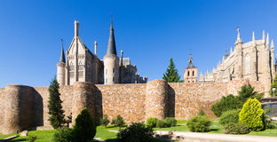 Ancient town walls,  Cathedral and Episcopal Palace of Astorga Royalty Free Stock Photos