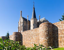 Ancient town walls  and Episcopal Palace of Astorga Royalty Free Stock Photography