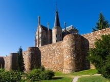 Ancient town walls  and Episcopal Palace of Astorga Royalty Free Stock Photos