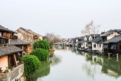 China ancient building in Wuzhen town. Old town in China Ancient building near the river in Wuzhen town, Zhejiang province, China Stock Photography