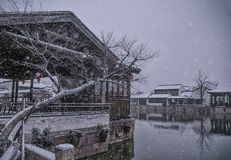 The ancient towns are snowing. In china Stock Photos