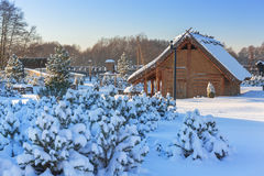 Ancient trading factory village at winter in Pruszcz Gdanski Stock Photography