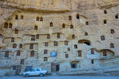 An ancient tradition, naturally cool stone carved warehouses along with many pigeon lofts in Ermenek, Turkey. An ancient tradition, naturally cool stone carved stock photos