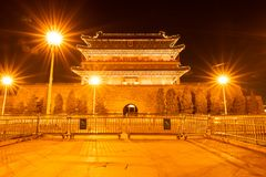 The ancient traditional Chinese Arrow Tower in the night, as known as Archery tower, or Jian Lou in Chinese located at. Zhengyangmen or Qianmen  in Beijing stock photo