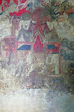 Ancient Traditional Siamese Mural Wall Paintings from Late Ayutthaya Period at Tamnak Phra Bhuta Khosajarn in The Historic City of stock photo