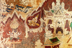 Ancient Traditional Siamese Mural Wall Paintings from Late Ayutthaya Period at Wat Pradu Song Tham in The Historic City of Ayuttha Stock Images
