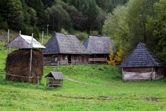 Ancient traditional ukrainian rural houses Royalty Free Stock Images