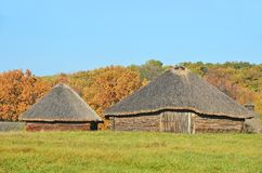 Ancient wicker barn with a straw roof Royalty Free Stock Photography