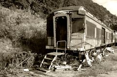 Ancient train. A retired train, sepia toning Stock Photo