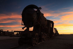 Ancient train cemetery at sunset Royalty Free Stock Images