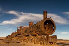 Ancient train cemetery at Uyuni. Bolivia Royalty Free Stock Photos