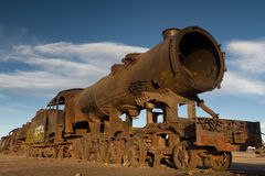 Ancient train cemetery at Uyuni Royalty Free Stock Photography