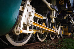 Ancient train. Close-up of the train wheels ancient Royalty Free Stock Photo