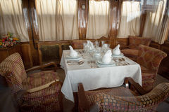 Ancient train restaurant wagon Stock Photography